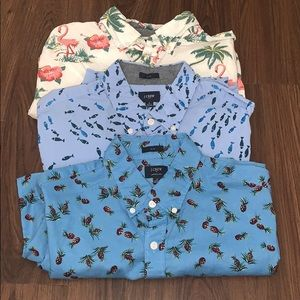LOT of 3- J. Crew Short Sleeve Button Down Shirts